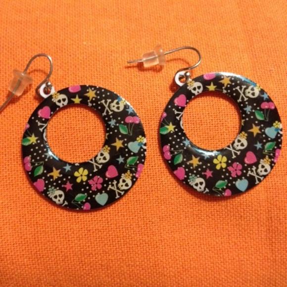 "Halloween Jewelry - VINTAGE(90s)Skulls/hearts""Day of the Dead""earrings"